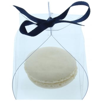 5 Pack Clear Single Macaron Box With Ribbon & Tag.