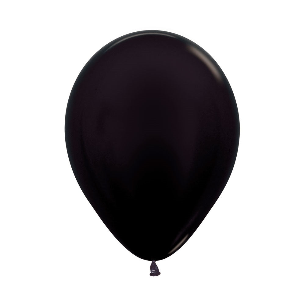 Metallic Black Latex Balloons 12in,