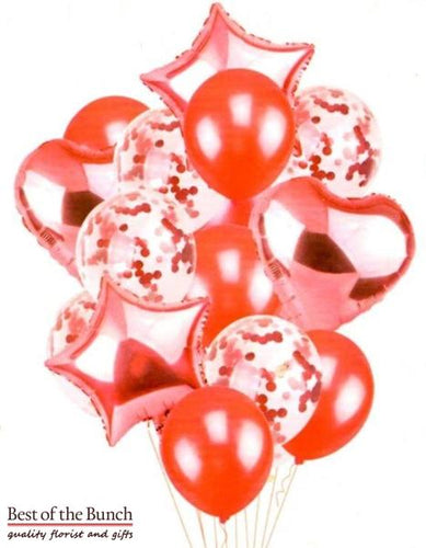 Rosy Red 14-Piece Helium Balloon Set