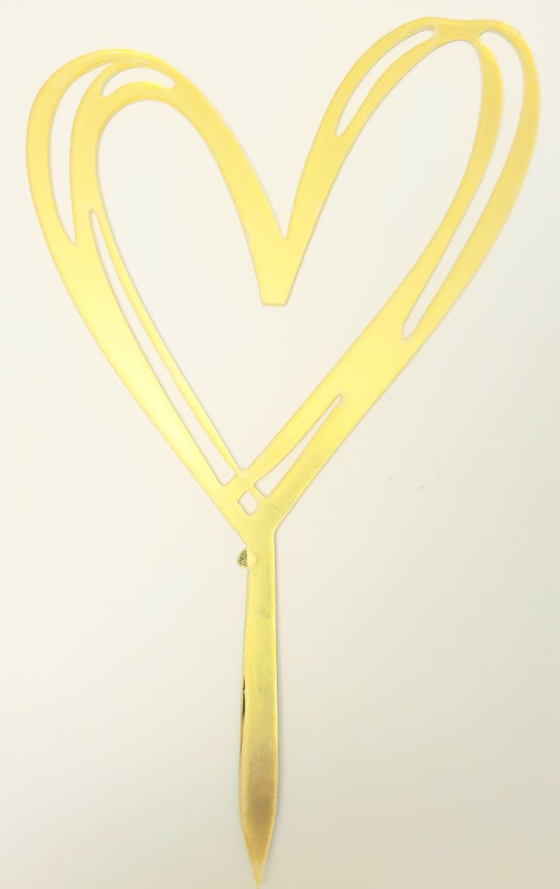 Acrylic Cake Topper Gold - Heart (whimsy)