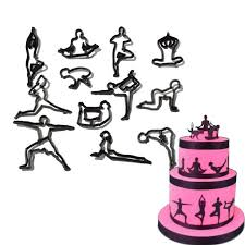 YOGA SILHOUETTE 12 Pc Icing Sugarcraft Cutter Set