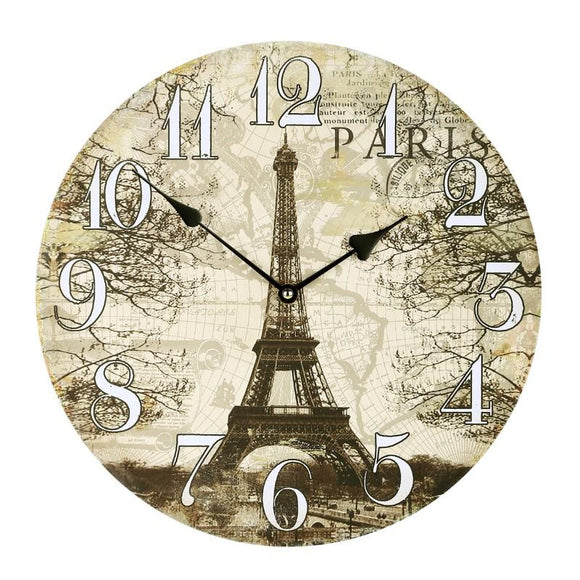 Printed MDF Wall Clock, Brown