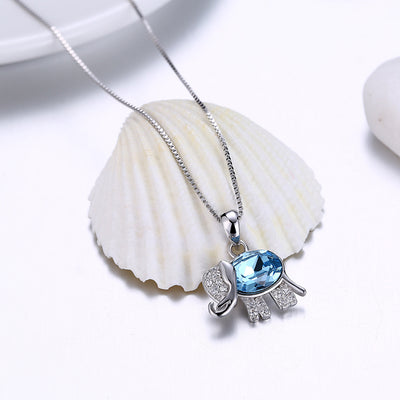 Female fashion diamond cute elephant pendant necklace S925 sterling silver necklace