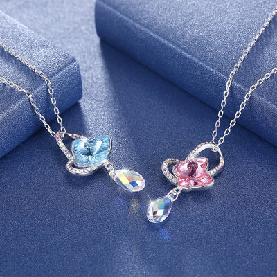 Swarovski Element Crystal Necklace Sterling Silver 925 Bow Drop Pendant Clavicle Necklace