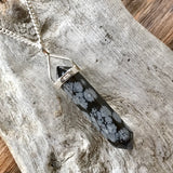 Snowflake Obsidian Double Terminated Pendant (Medium)