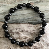 Obsidian and Hematite Bracelet