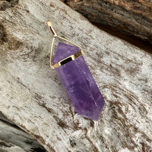 Amethyst Double Terminated Pendant 9ct Gold Two Styles