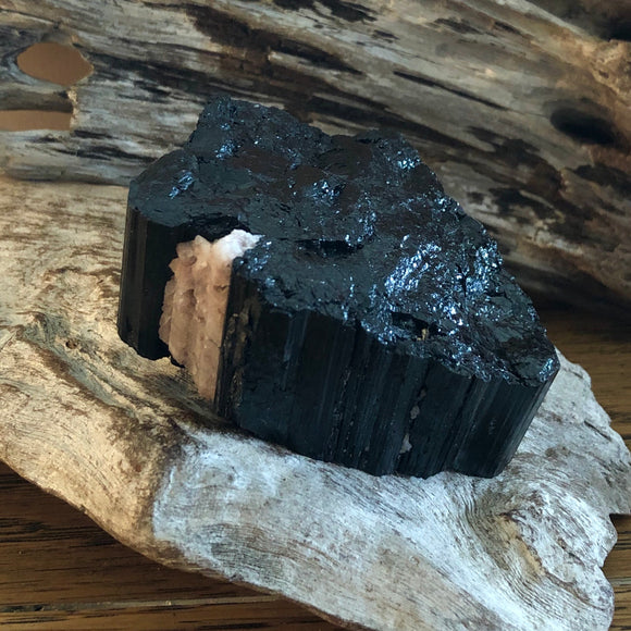 Black Tourmaline with Quartz Inclusion (Raw)