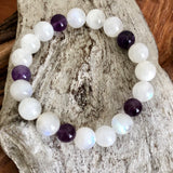 Rainbow Moonstone and Amethyst Bracelet