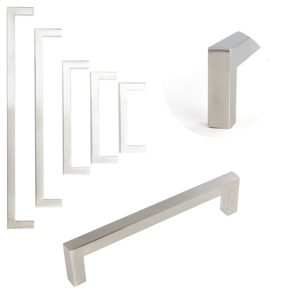 Square Furniture Handle Brushed Stainless Steel 5 Sizes