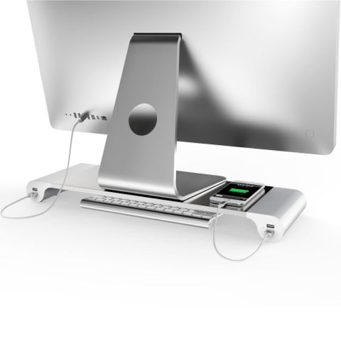 Computer Monitor Riser Stand with 4 Builtin USB Ports