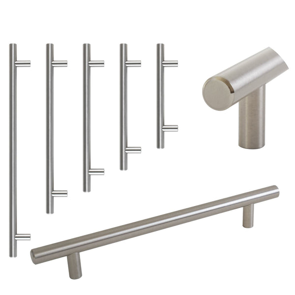 Satin T-Bar Kitchen Drawer Handle Pull 5 Sizes