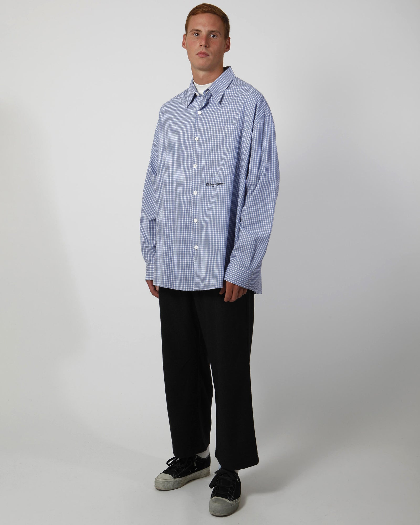 Oversized check button down shirt