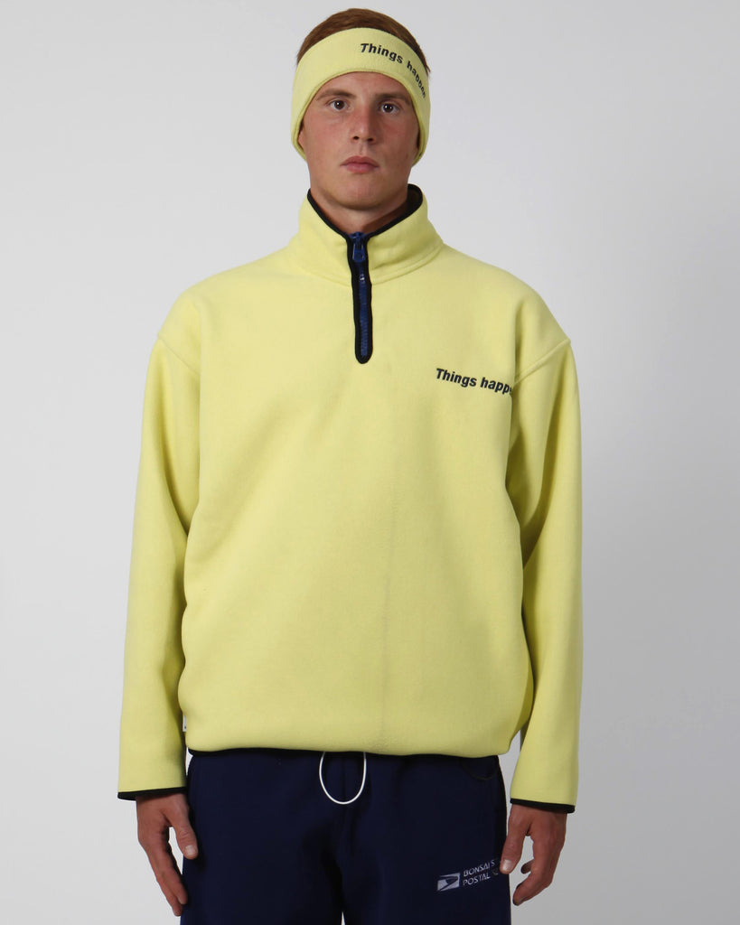 Yellow things happen polar fleece Half-zip pullover