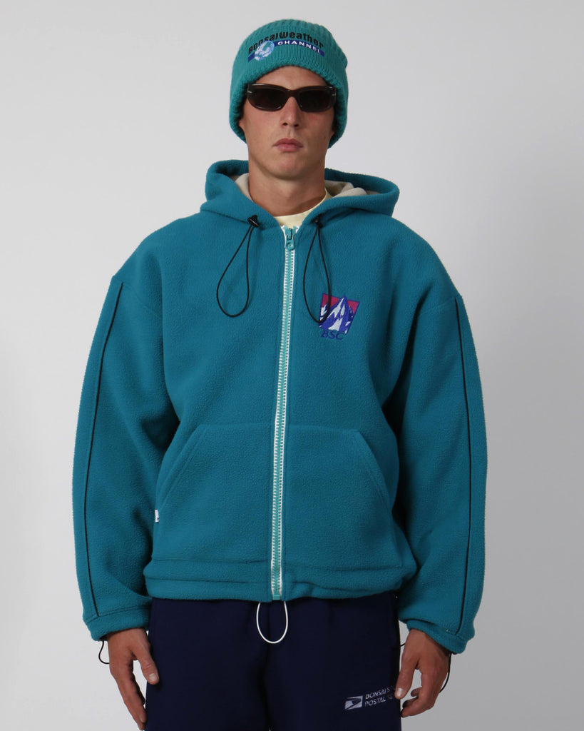 Green polar fleece full-zip hoodie