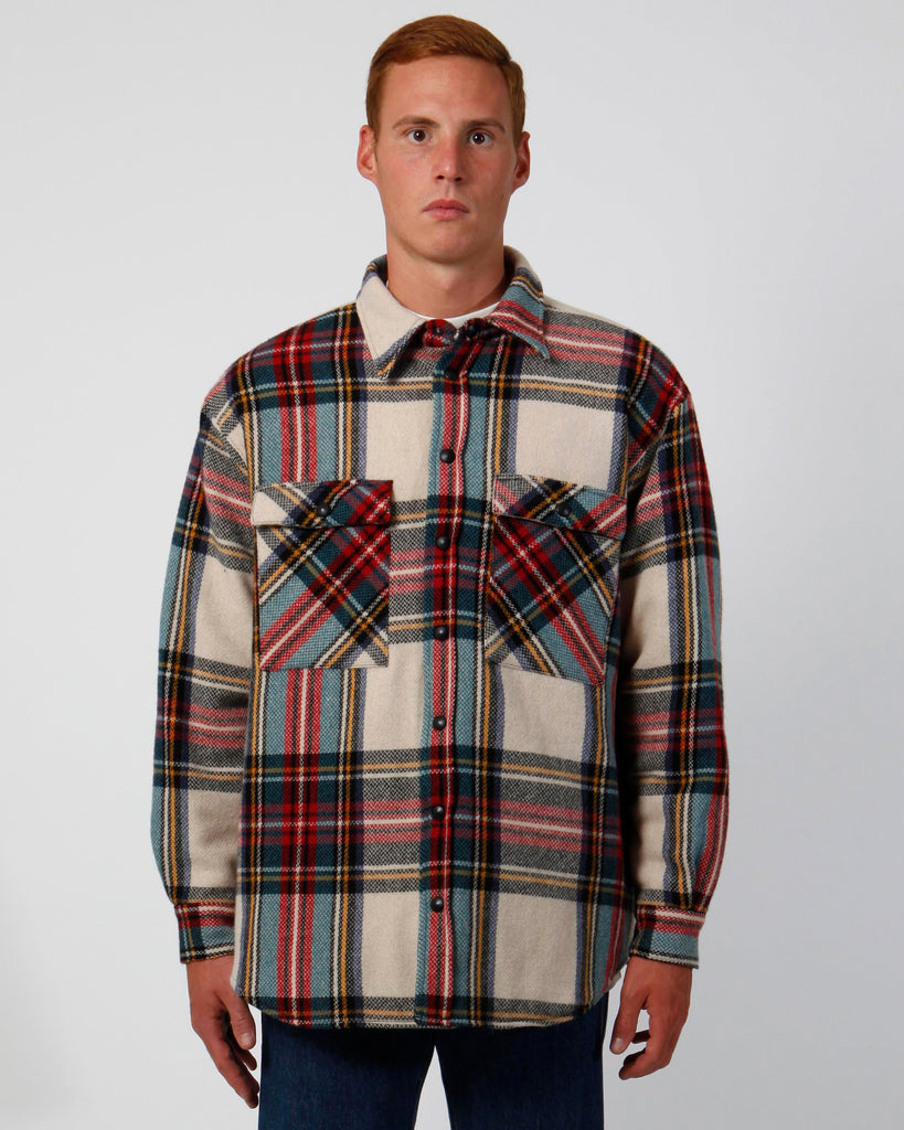 Check padded oversize shirt