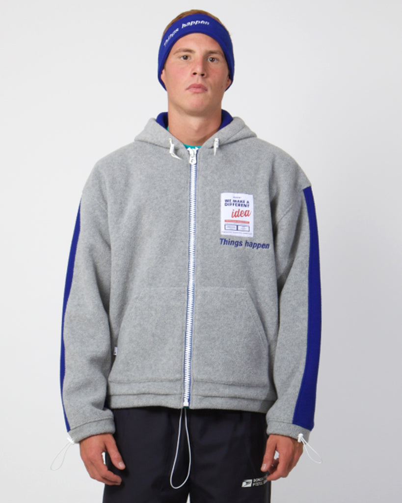 Light gray polar fleece full-zip hoodie