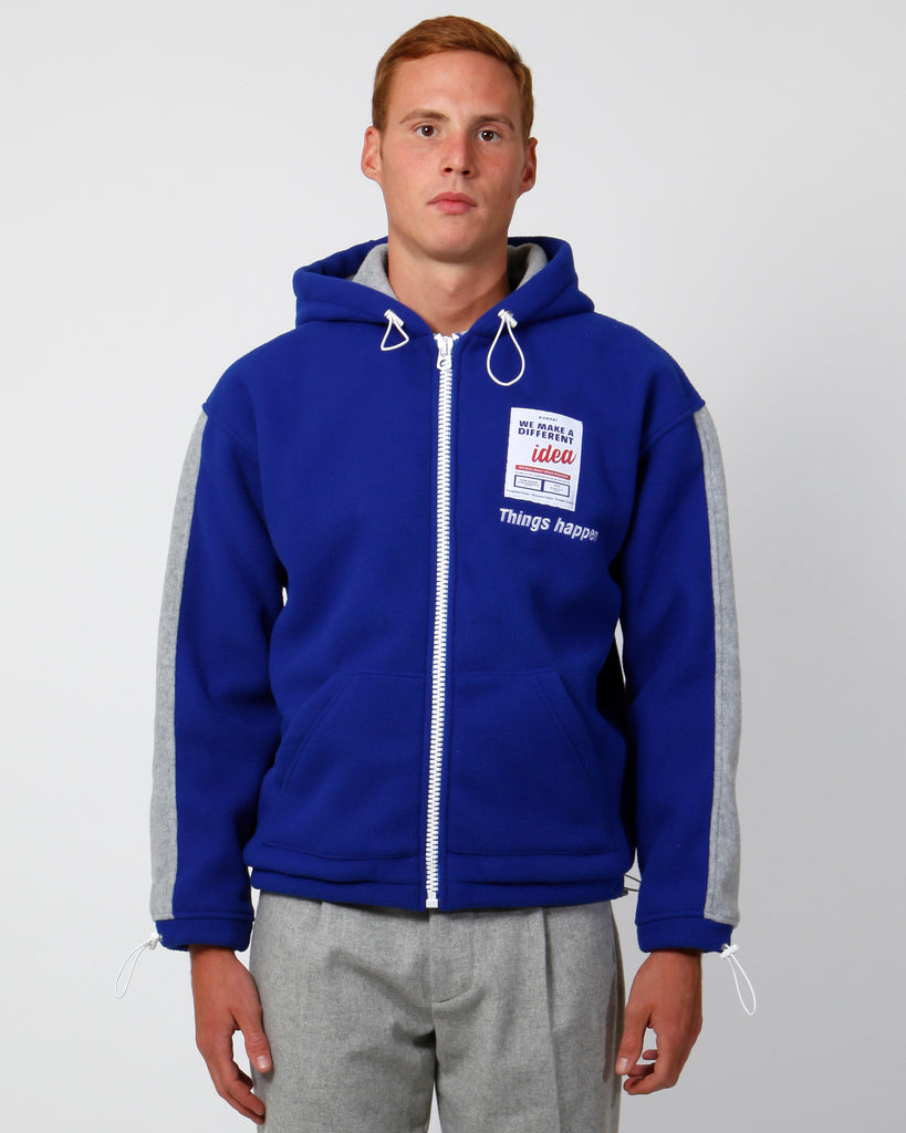 Blue polar fleece full-zip hoodie