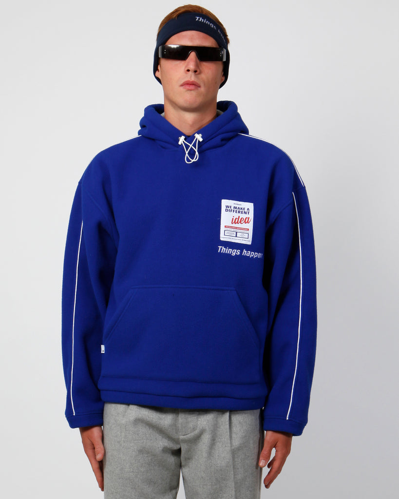 Blue things happen polar fleece hoodie