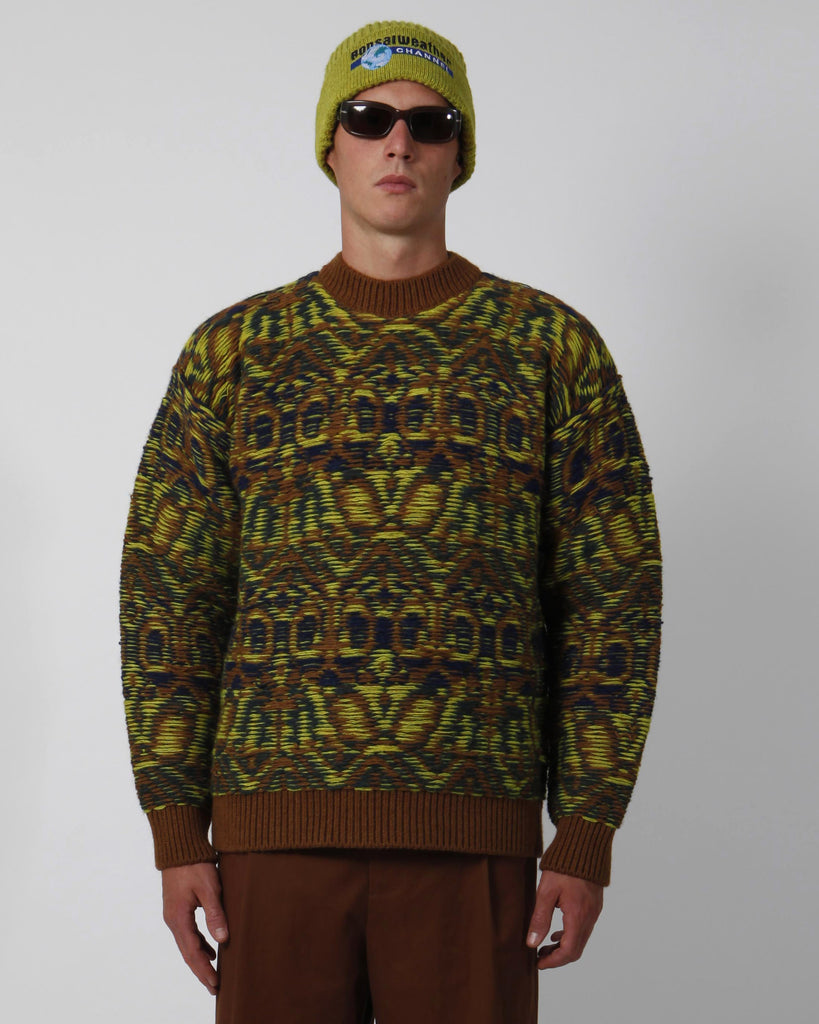 Brown jacquard sweater