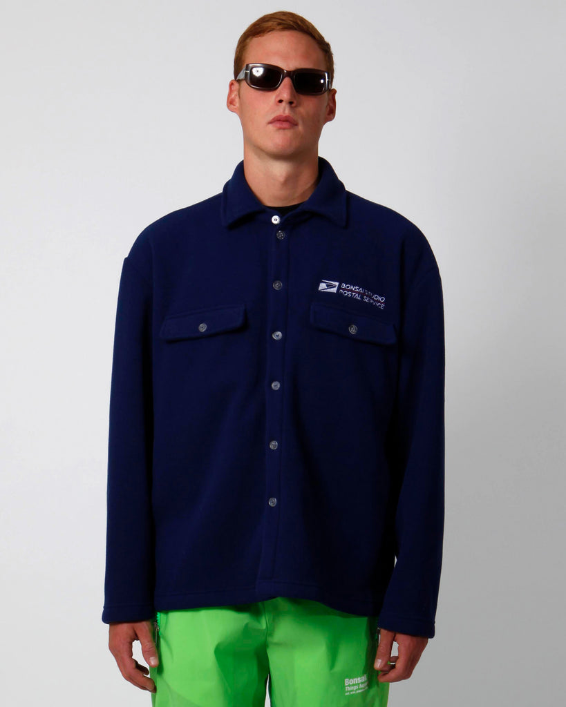 Navy polar fleece button down shirt/sweatshirt