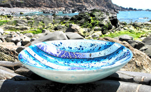 Atlantic Swell - Art glass kiln formed bowl/dish (large)