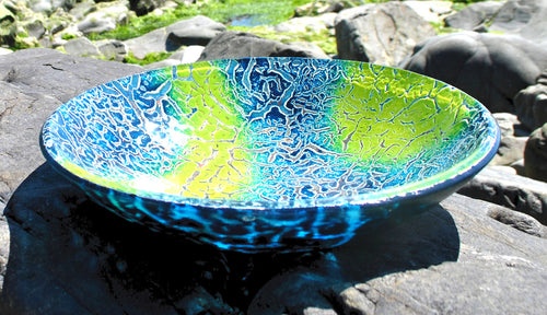 Marajo - Art glass kiln formed bowl/dish (large) by Gregg Anston-Race