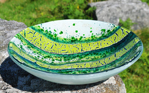 Viridis - Art glass kiln formed bowl/dish (large) by Gregg Anston-Race