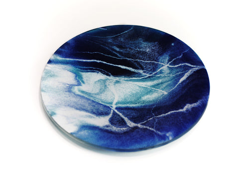 Okeanos - Art glass kiln formed flow style bowl/dish (Extra large)