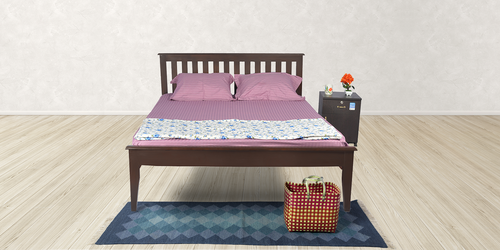 Unboxed Plus Sepia Solid Wood Double Bed