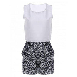 Sexy Round Neck Sleeveless Tank Top + Elastic Waist Shorts Twinset For Women - White M