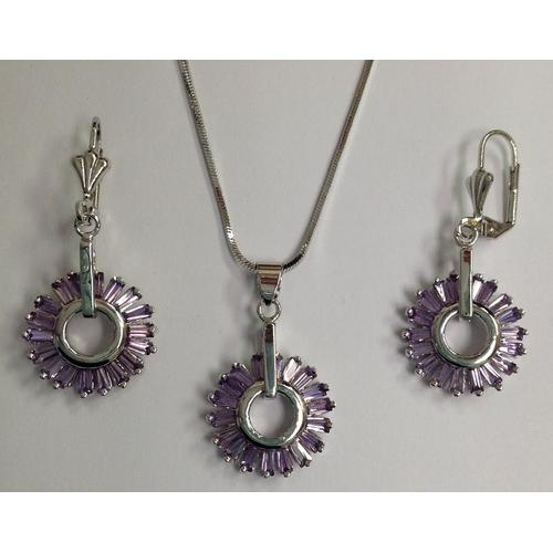 Lavender Baguette CZ Necklace and Earring Set Rhodium Plated in Gift Box