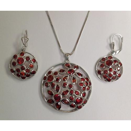 Red CZ Necklace and Earring Set Rhodium Plated in Gift Box