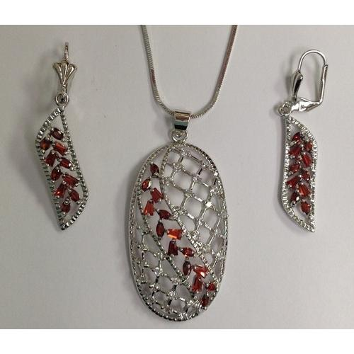 Red and Clear CZ Necklace and Earring Set Rhodium Plated in Gift Box