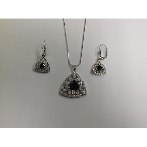 Multi Shape Black CZ Necklace and Earring Set Rhodium Plated in Gift Box