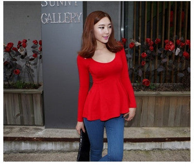 Summer Fashion Cute Long-sleeve Cotton T-Shirt Red