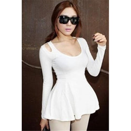 White Summer Fashion Cute Long-sleeve Cotton T-Shirt