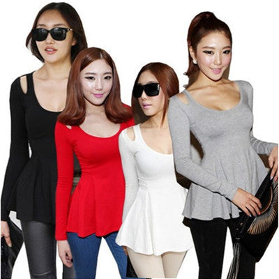 Summer Fashion Cute Long-sleeve Cotton T-Shirt Black