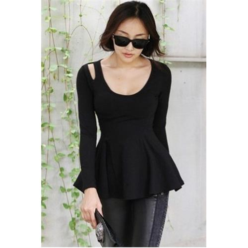 Black Summer Fashion Cute Long-sleeve Cotton T-Shirt