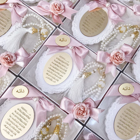 Customized Ceramic Favors with Rosary ( Tasbih)