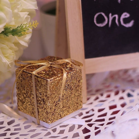 Simple Glitter  Favor Boxes