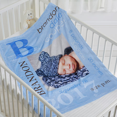 """All About you"" Customized Photo Baby Boy Blanket"