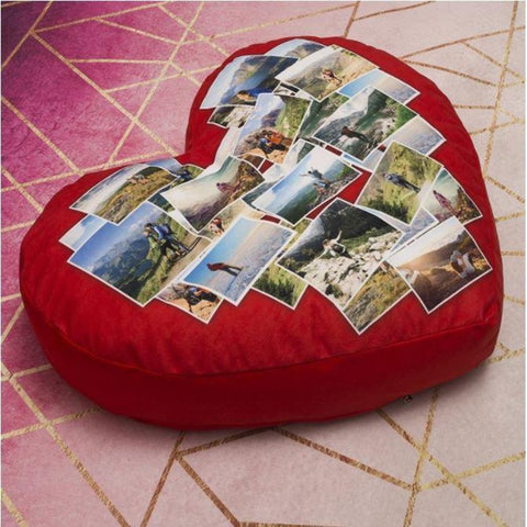 Customized Photo Heart Montage Heart Cushion