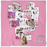 Heart Montage Customized Photo Blanket