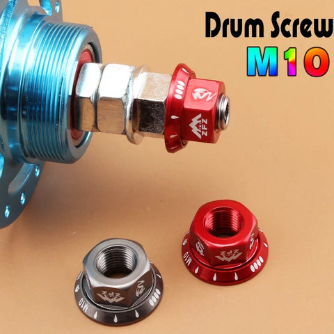 Bicycle Bmx Fixed Gear MTB Rear Hub m10 Axle Red Anodized Screws