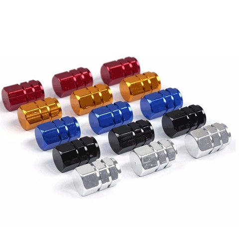 Hexagon Anodized MTB Escooter Motorcycle Schrader Valve Caps