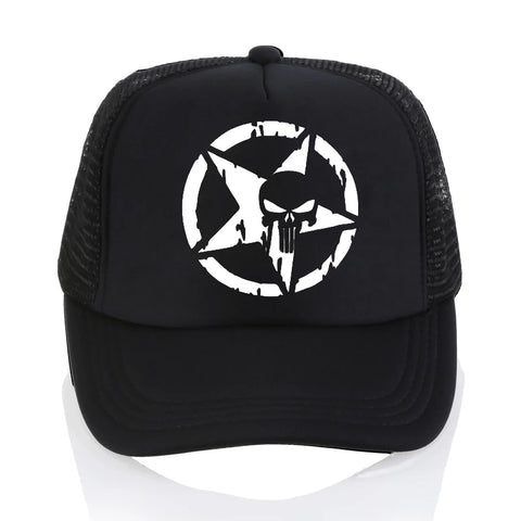 Black Punisher Star Trucker Skull Baseball Cap