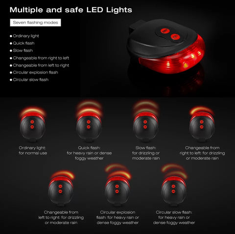 5 LED + 2 Laser Cycling Seat Post Red Led Lights