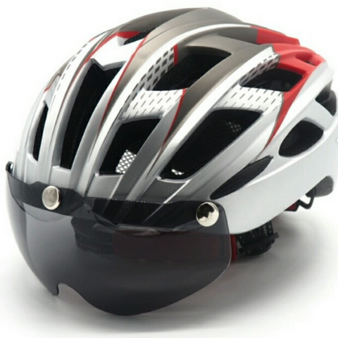 Lightweight Helmet + Integrated Cycling Magnet Sun Glasses Lens