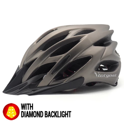 Titanium Grey Lightweight MTB Cycling Protective Helmet + Integrated Diamond Warning Led